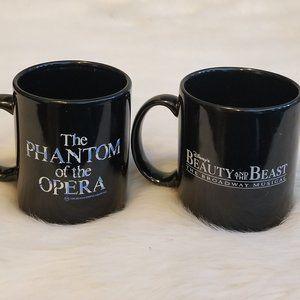 2 Mugs Disney Beauty & Beast, Phantom of Opera Vtg